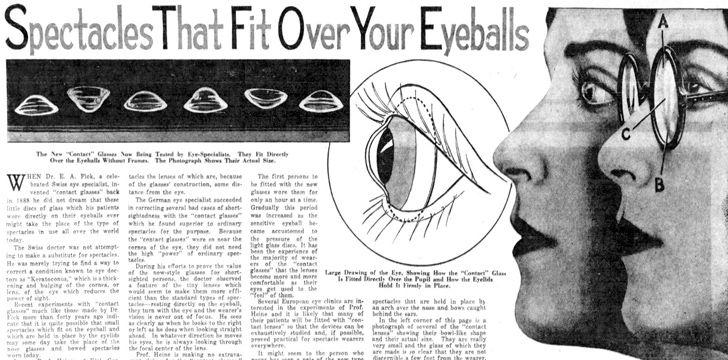 istorie lentile contact